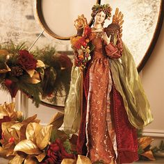 Williamsburg® Angel Figurine - Frontgate love this angel she would be a great addition since she blends well with our tuscan decor Tuscan Decorating, Holiday Decorating, Christmas Holidays, Christmas Ideas, Hanukkah Decorations, Tuscan House, Colonial Williamsburg, Golden Oak, Decorative Objects