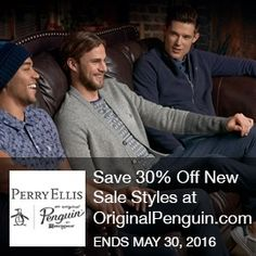 Perry Ellis Coupon- Save 30% Off New Sale Styles at OriginalPenguin.com Save 30% Off New Sale Styles at OriginalPenguin.com! Price as marked. Limited Time Offer! Brought to you by http://www.imin.com and http://www.imin.com/store-coupons/perry-ellis/