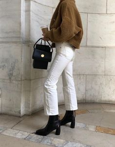 Paris, Prada, Pearls, Perfume - Winter Outfits for Work Mode Outfits, Chic Outfits, Trendy Outfits, Fashion Outfits, Jeans Fashion, Fashion Ideas, Sweater Fashion, Fashion Tips, Fashion Trends