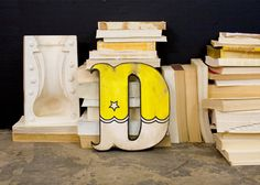 Carnival Style Wood Letter D Yellow and White