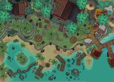 Jungle Mercenary Camp : battlemaps Cartographers Guild, Fantasy World Map, Village Map, Elves Fantasy, D D Characters, Tabletop Rpg, Map Design, Alien Logo, Dungeons And Dragons