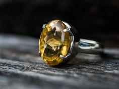 Citrine Ring Size 8  Buff Top Citrine Ring  by NaturalRockShop