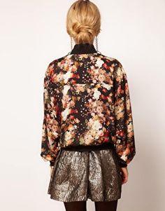 Bomber Jacket With Digital Floral Print