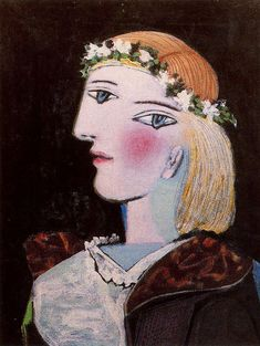 Portrait of Marie-Thérèse Walter with garland, 1937, Pablo Picasso Size: 61x46 cm Medium: oil on canvas