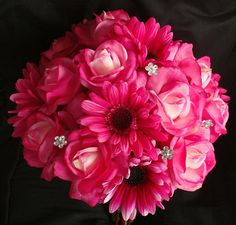 Fuchsia Natural Touch Roses Gerbera Daisies Bouquet