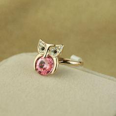 Elegant 18K Gold Diamond Satellite stone Owl Women's Rings