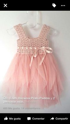 Blush Pink Baby Tulle Dress with Empire Waist and Stretch Crochet Top.Tulle dress for girls with lacy crochet bodice Pale Pink Baby Tulle Dress with [. Crochet Girls, Crochet Baby Clothes, Crochet For Kids, Knit Crochet, Crochet Ideas, Baby Tulle Dress, Crochet Tutu Dress, Pink Tulle, Pink Dress
