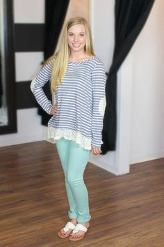 Stripes and Lace! Party In the Back Blouse-Navy at Juliana's Boutique- shopjulianas.com