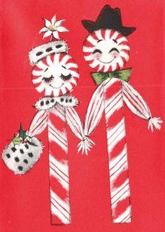 #candycanes Candy Cane Crazy. Vintage Christmas Card. Retro Christmas Card. Peppermint Sticks.