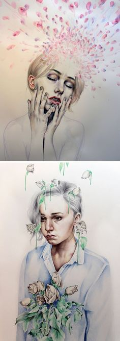 These are two of Kate Powell's most recent pieces, completed while waiting to attend a Foundation Degree at Leeds College of Art 18 year old artist Kate Powell Nature Artwork Draw, Gcse Art Sketchbook, Expressive Art, Art Drawings, Drawings, Student Art, Art Studios, Art, Portrait