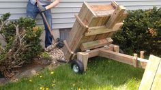 "Build a Wooden Wheelbarrow Dump Cart DIY Project Homesteading - The Homestead Survival .Com ""Please Share This Pin"" Diy Wood Projects, Outdoor Projects, Diy Projects To Try, Outdoor Ideas, Wooden Wheelbarrow, Wooden Wagon, Yard Cart, Atelier Creation, Yard Maintenance"