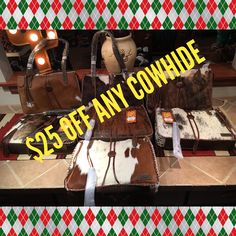 New purses online USE CODE: 25offcowhide  Makes them only $150 www.southwest-bedazzle.com