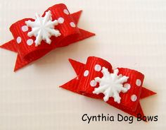 """Style: Single-Looped Matching PairSize:  Small 3/8"""" x 7/8""""Attachment:  2-Quality Latex Bands.  If you prefer Alligator clips, please upgrade using the selection box above.All my bows are thoughtfully designed and handcrafted using only quality materials.  Each one is fray-treated a..."""