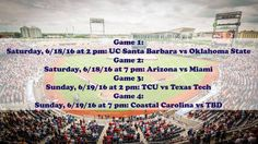 The schedule for opening weekend is set! Make sure to secure your Lower Reserved & Club seats for the 2016 College World Series at TicketExpress.com! See ya at the ballpark! World Series Tickets, College World Series, Local Concerts, Opening Weekend, Schedule, Arizona, Entertainment, Events, Club