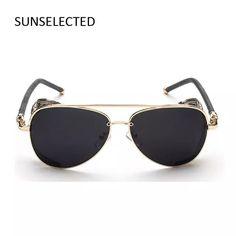 6053da79003 COLECAO STEAMPUNK gafas de Sol de Las Mujeres 2016 Gafas de Sol de Los  Hombres Oculos