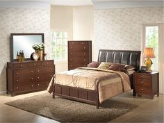 7pc bedroom set with walnut finish and an upholstered headboard queen 1149 99 dorm furniture