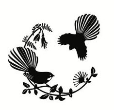 I like the fantail on the branch - without the one flying in Art Maori, Bird Stencil, Damask Stencil, Maori Designs, Tattoo Designs, Silver Fern, New Zealand Art, Nz Art, Stencil Patterns