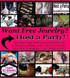 Host a party at your house! Invite your friends over and have a blast selling all this beautiful $5.00 jewelry!! Pgodwin1963@aol.com Www.pamspazazz.com