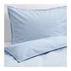 IKEA - ÄNGSLILJA, Enkelt sengesett, 150x200/50x60 cm, , Dynetrekket er vasket med en metode som bringer frem de harmoniske fargene og gir en mykere følelse mot huden.Bomull, føles myk og behagelig mot huden din.Skjulte trykknapper holder dynen på plass.