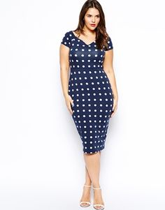 Image 4 of ASOS CURVE Body-Conscious Dress In Spot With Cross Back