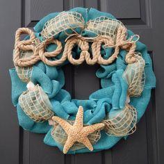 Beach Decor Burlap Wreath with starfish and seashells. Ocean nautical Home Decor on Etsy, $55.00