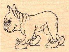 Vintage Drawing of a Frenchie