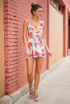 Everything Will Bouquet Romper, Pink - The Mint Julep Boutique