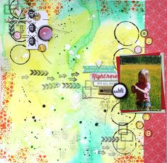 Saras pysselblogg - Sara Kronqvist: Hello beautiful - Mixed media scrapbook page covered with watercolors, stamping and some acrylic paint