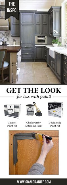 Get this striking charcoal cabinet and white granite look in your kitchen - all with paint! Countertop Paint Kit, Chalk Paint Kitchen Cabinets, Painting Bathroom Cabinets, Chalk Paint Furniture, Diy Furniture, Charcoal Paint, Charcoal Black, Charcoal Kitchen, House Paint Interior