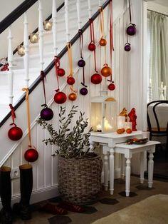 deco escalier Noel, formidable idee deco escalier en bois