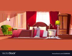 bedroom mess cartoon background morning vector vectorstock interior