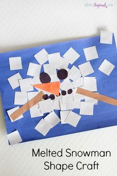 Both of my kids loved making this melted snowman shape craft! It's a great way to teach young kids about shapes. Kids also get lots of fine motor practice when they make this collage too!
