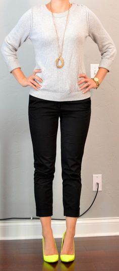 Outfit Posts: outfit post: grey sweater, black cropped pants, neon yellow shoes. Love the cropped pants!