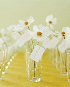 Flower seating cards.... Use Gardenias   for a magical scent all evening