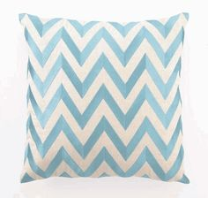 """""""Zig Zag"""" Embroidered Linen Pillow, Turquoise, 20"""" x 20"""""""
