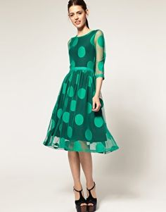 #Kelly green #polka dot dress - perfect for all the holiday parties I'm not going to!