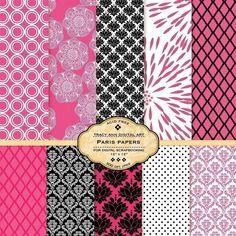 Paris Digital Paper pack Hot pink and black for invites, card making, digital scrapbooking - Paris