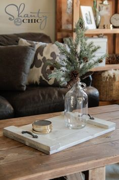 DIY Wood Tray for the Coffee Table from Shanty 2 Chic Diy Wood Projects, Wood Crafts, Woodworking Projects, Woodworking Desk, Popular Woodworking, Shanty 2 Chic, Diy Coffee Table, Coffee Tray, Wood Tray