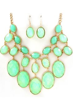 Mint and Gold Vitrail Etta Necklace and Earring Set with Faceted Cut Cabochons