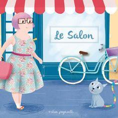 Le Salon by Elisa Paganelli * Ellie Page www.elisapaganell... #elliepage #elisapaganelli #vintage #cute #illustration #illustrazione #illustratrice #cat #rainbow #shop #dress #hairdresser #bicycle