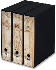 KAOS Lever Arch Files 2ring Binders with slipcase, Spine 8 cm, 3 pcs Set   - VITRUVIAN MAN, LEONARDO - 3 pcs Set Dimensions: 26.8x35x29 cm
