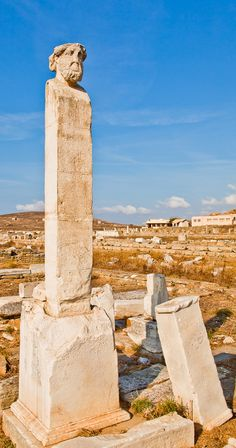 The island of Delos, near Mykonos, birthplace of twin gods Apollo & Artemis. One of the most important mythological, historical and archaeological sites in Greece. Paros, Ancient Ruins, Ancient Greece, Delos Greece, Santorini, Classical Greece, Places In Greece, Greek Beauty, Historical Monuments