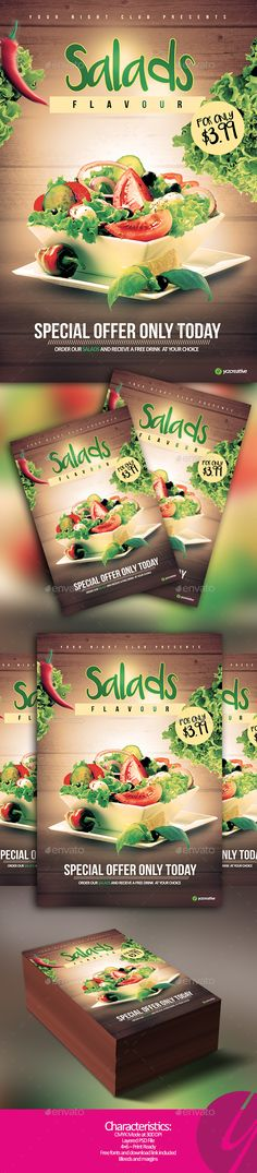 Salads Flavour Flyer - Restaurant Flyers