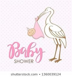 Cartoon stork with baby. Design template for greeting card, baby shower invitation, banner. Congratulations to the newborn girl. Vector illustration in flat style. Baby Clothes Storage, Funny Baby Clothes, Trendy Baby Clothes, Baby Boy Themes, Baby Girl Shower Themes, Baby Shower, Baby Announcement To Husband, New Baby Announcements, Congratulations Baby Boy