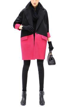 Cocobella - Audrey Coat in Rose // colour block coat, refashion coat idea Cool Coats, Winter Mode, Fashion Project, Jacket Style, Capes, Coats For Women, Autumn Winter Fashion, Parka, Blazers