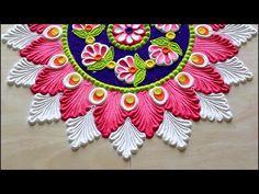 Navratri rangoli designs l Diwali rangoli designs diya l Saraswathi pooja kolam l नवरात्री रांगोळी Easy Rangoli Patterns, Rangoli Designs Peacock, Easy Rangoli Designs Diwali, Rangoli Designs Latest, Rangoli Colours, Free Hand Rangoli Design, Small Rangoli Design, Colorful Rangoli Designs, Rangoli Ideas