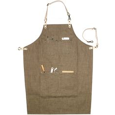 Brown Denim Apron with Leather Straps. Suitable for Uniforms of Barber,Barista,Bartender,Stylist,Chef,Waiter/Waitress,Florist,Painter,Gardener, or Work ware of Tattoo shop,Craft workshop etc.