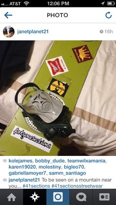 The Suburban King, Middle Class Life, Wu41 and Fortyonesections stickers on a customer's snow board.
