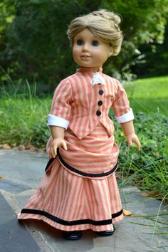 Victorian Bustle Dress for AG dolls in a striped cotton with black velvet trim around the skirt by PemberleyThreads on Etsy $60.00