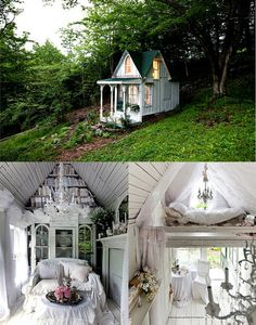 Seen on Tumblr: I am completely obsessed with this Victorian cottage that this woman made out of an 9 by 14 foot hunting cabin in the Catskills.  It's so white and shabby chic and whimsical without being childish, I feel like it's something I created in a dreamspace. When I'm mediating and have to think of my safe place, it's going to be in the loft of this lil cottage.  I would sell my soul to spend a night there, just so I could see the sunrise through these windows.